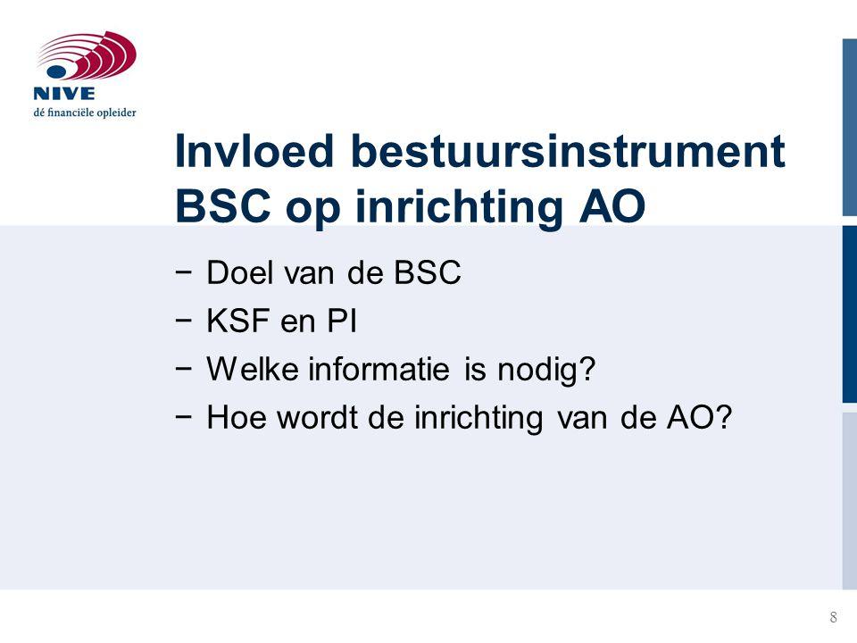 8 Invloed bestuursinstrument BSC op inrichting AO −Doel van de BSC −KSF en PI −Welke informatie is nodig? −Hoe wordt de inrichting van de AO?