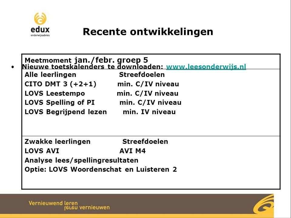 Recente ontwikkelingen Nieuwe toetskalenders te downloaden: www.leesonderwijs.nlwww.leesonderwijs.nl Meetmoment jan./febr. groep 5 Alle leerlingen Str
