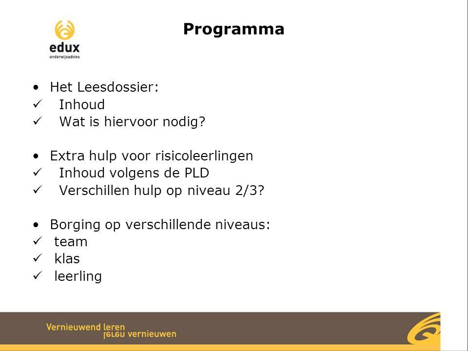 Programma Het Leesdossier: Inhoud Wat is hiervoor nodig? Extra hulp voor risicoleerlingen Inhoud volgens de PLD Verschillen hulp op niveau 2/3? Borgin