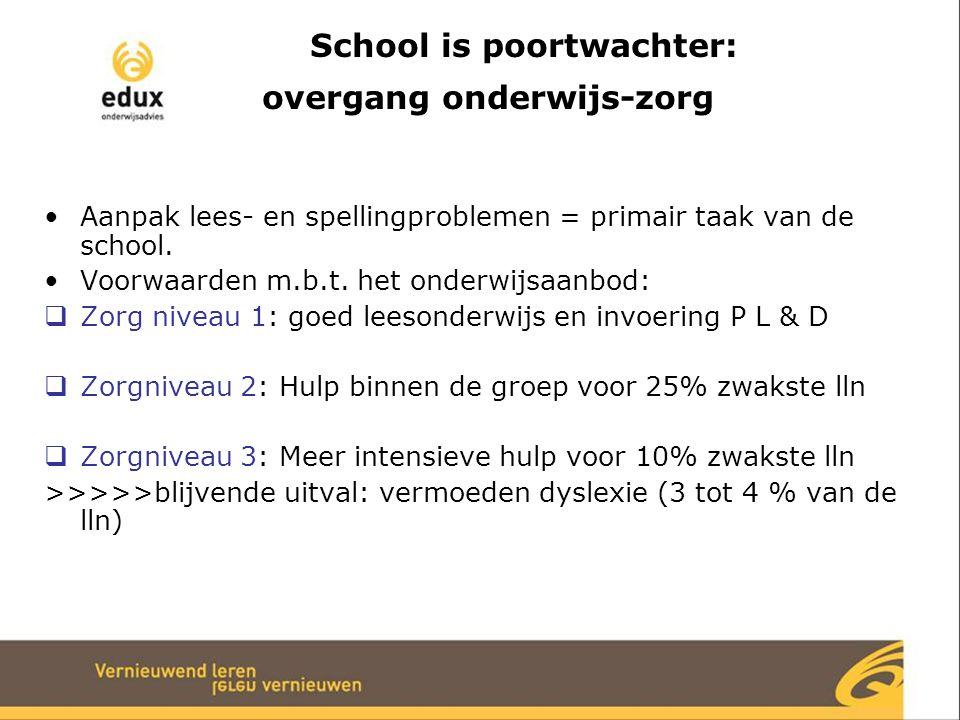 School is poortwachter: overgang onderwijs-zorg Aanpak lees- en spellingproblemen = primair taak van de school. Voorwaarden m.b.t. het onderwijsaanbod