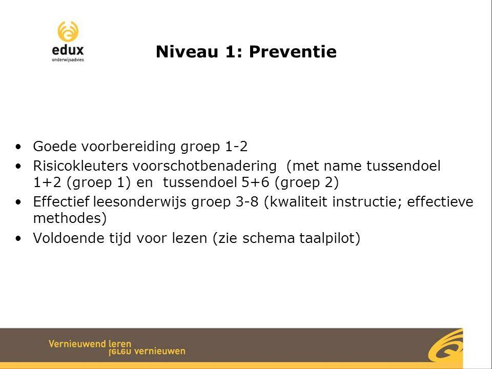 Niveau 1: Preventie Goede voorbereiding groep 1-2 Risicokleuters voorschotbenadering (met name tussendoel 1+2 (groep 1) en tussendoel 5+6 (groep 2) Effectief leesonderwijs groep 3-8 (kwaliteit instructie; effectieve methodes) Voldoende tijd voor lezen (zie schema taalpilot)