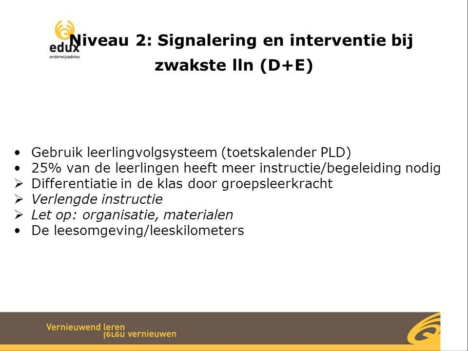 Niveau 2: Signalering en interventie bij zwakste lln (D+E) Gebruik leerlingvolgsysteem (toetskalender PLD) 25% van de leerlingen heeft meer instructie