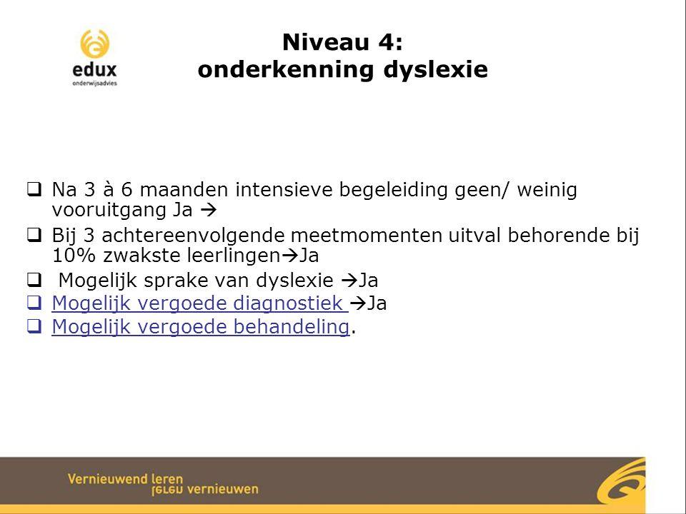 Niveau 4: onderkenning dyslexie  Na 3 à 6 maanden intensieve begeleiding geen/ weinig vooruitgang Ja   Bij 3 achtereenvolgende meetmomenten uitval