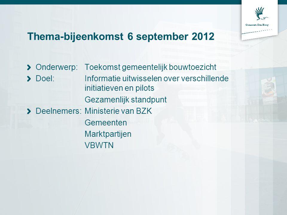 Thema-bijeenkomst 6 september 2012 Onderwerp: Toekomst gemeentelijk bouwtoezicht Doel: Informatie uitwisselen over verschillende initiatieven en pilots Gezamenlijk standpunt Deelnemers:Ministerie van BZK Gemeenten Marktpartijen VBWTN