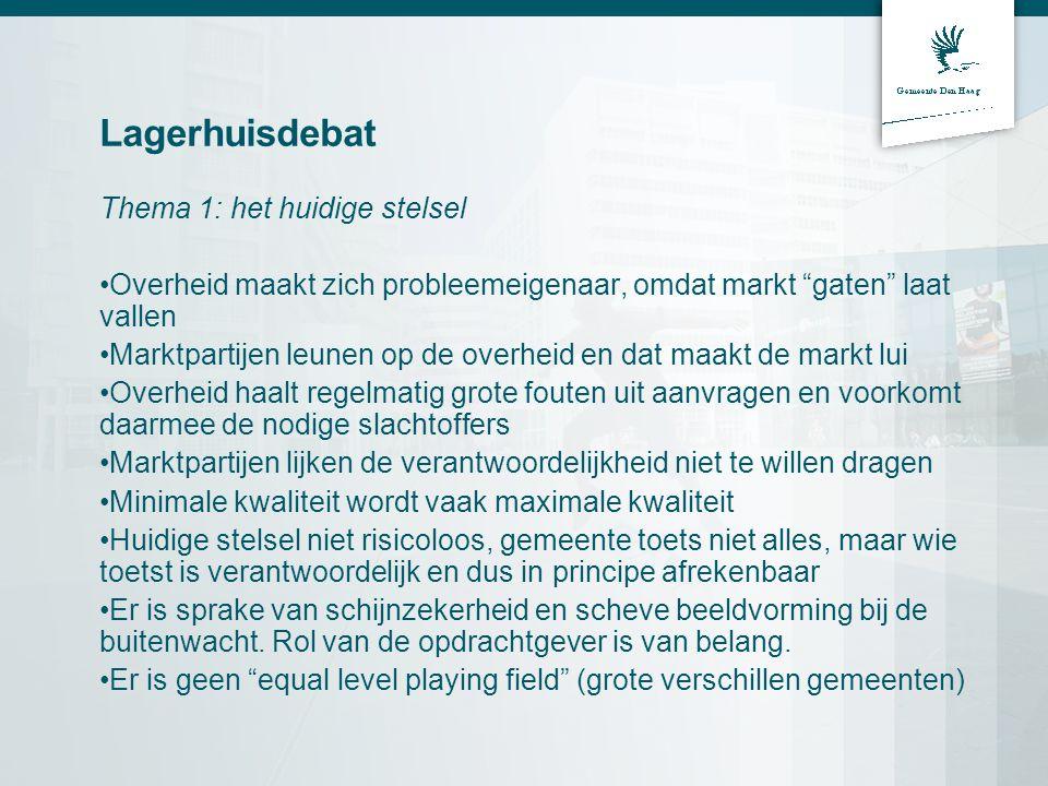 Lagerhuisdebat Thema 2: Volledig geprivatiseerd of duaal stelsel Privatisering betreft (ver)bouwen volgens de Wabo (Bouwbesluit hfd 2 t/m 6).