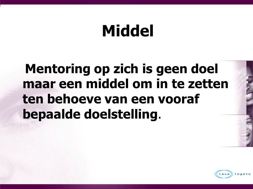Middel Mentoring op zich is geen doel maar een middel om in te zetten ten behoeve van een vooraf bepaalde doelstelling.