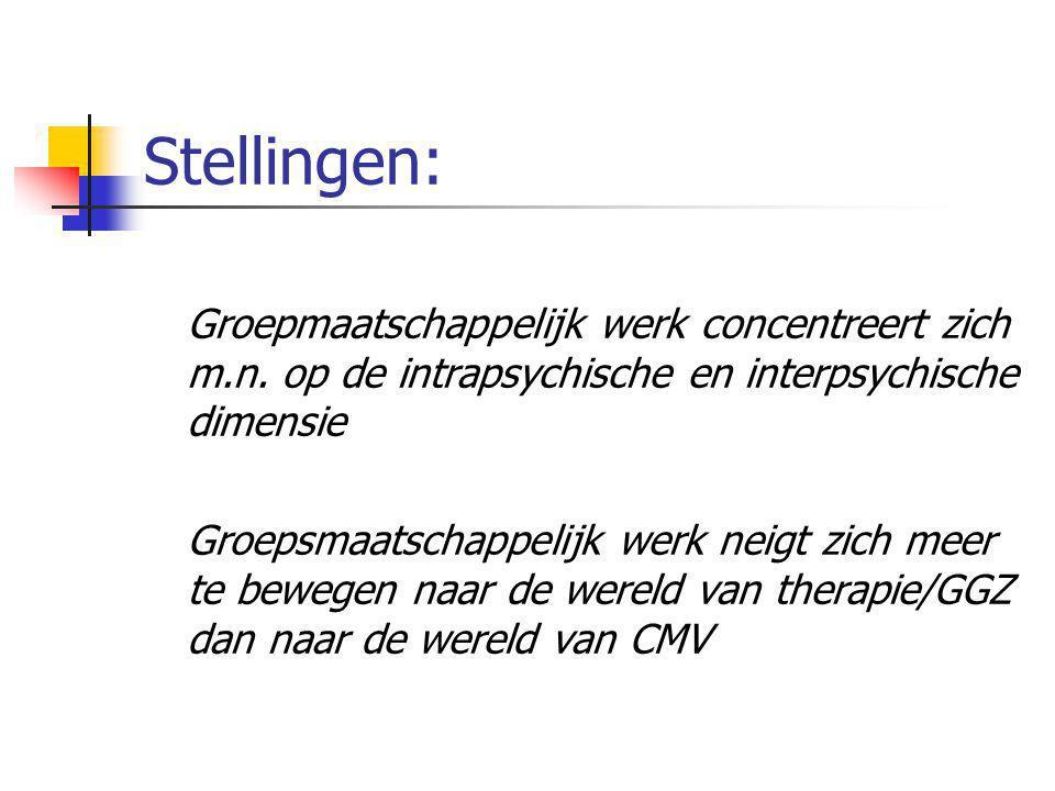 Stellingen: Groepmaatschappelijk werk concentreert zich m.n. op de intrapsychische en interpsychische dimensie Groepsmaatschappelijk werk neigt zich m