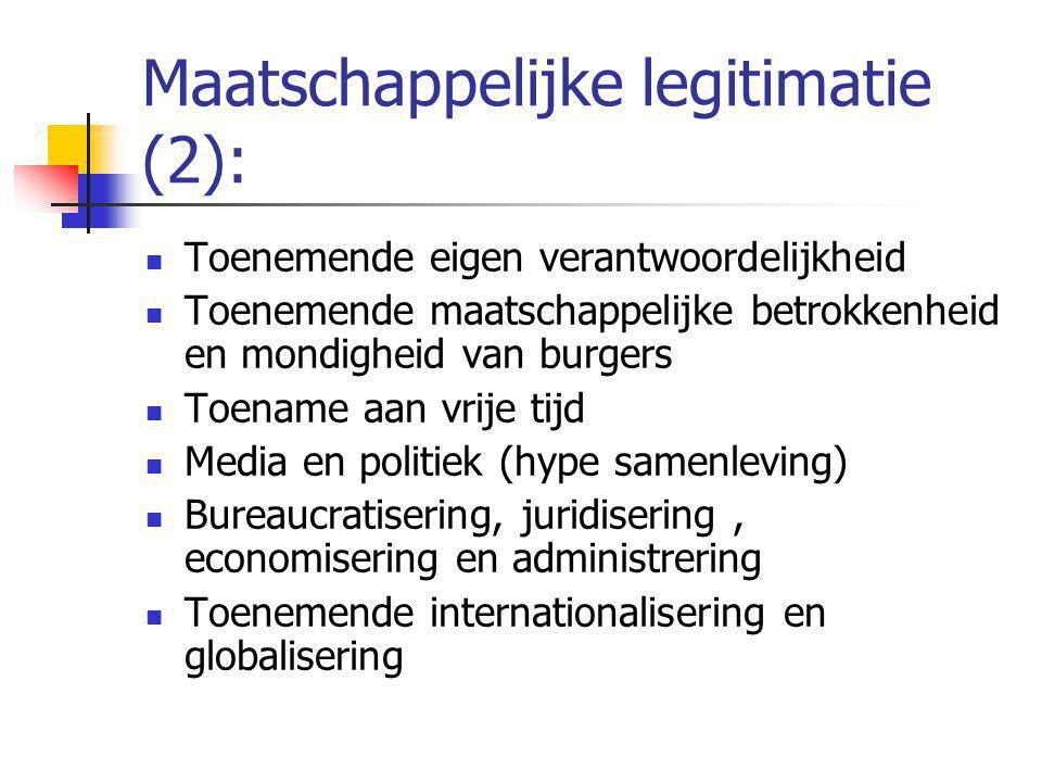 Maatschappelijke legitimatie (2): Toenemende eigen verantwoordelijkheid Toenemende maatschappelijke betrokkenheid en mondigheid van burgers Toename aan vrije tijd Media en politiek (hype samenleving) Bureaucratisering, juridisering, economisering en administrering Toenemende internationalisering en globalisering