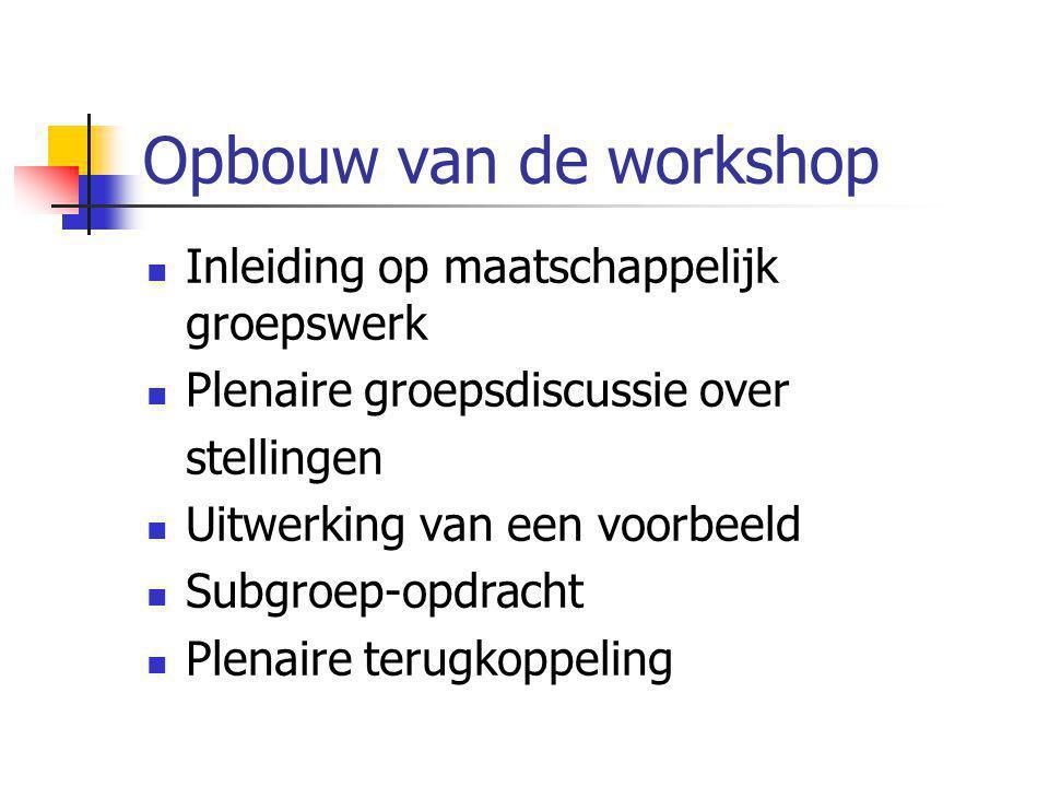 Opbouw van de workshop Inleiding op maatschappelijk groepswerk Plenaire groepsdiscussie over stellingen Uitwerking van een voorbeeld Subgroep-opdracht