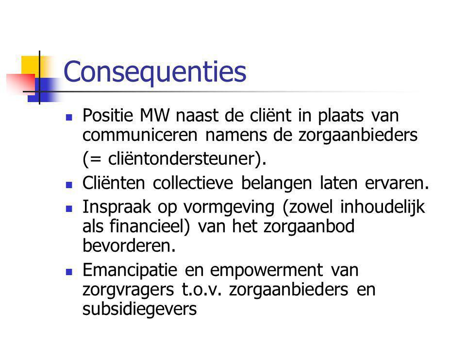 Consequenties Positie MW naast de cliënt in plaats van communiceren namens de zorgaanbieders (= cliëntondersteuner). Cliënten collectieve belangen lat