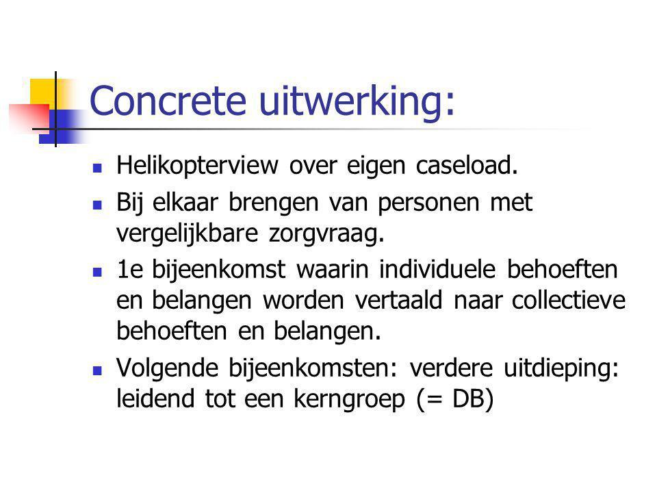Concrete uitwerking: Helikopterview over eigen caseload. Bij elkaar brengen van personen met vergelijkbare zorgvraag. 1e bijeenkomst waarin individuel
