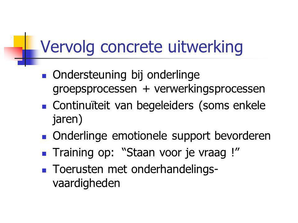 Vervolg concrete uitwerking Ondersteuning bij onderlinge groepsprocessen + verwerkingsprocessen Continuïteit van begeleiders (soms enkele jaren) Onder
