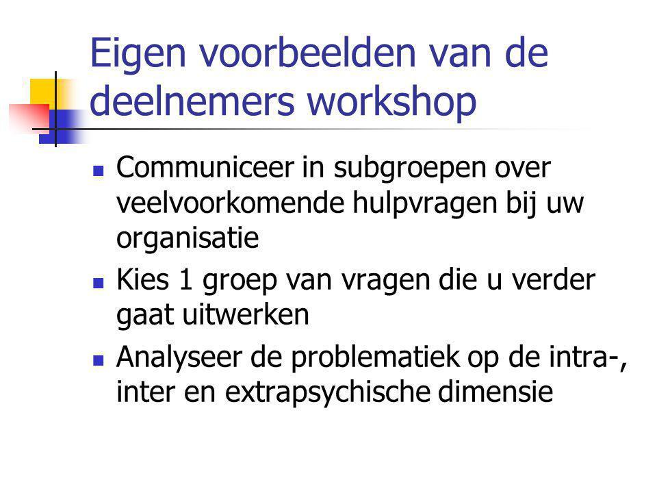 Eigen voorbeelden van de deelnemers workshop Communiceer in subgroepen over veelvoorkomende hulpvragen bij uw organisatie Kies 1 groep van vragen die u verder gaat uitwerken Analyseer de problematiek op de intra-, inter en extrapsychische dimensie