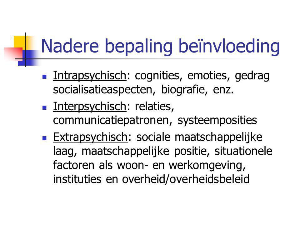 Nadere bepaling beïnvloeding Intrapsychisch: cognities, emoties, gedrag socialisatieaspecten, biografie, enz. Interpsychisch: relaties, communicatiepa