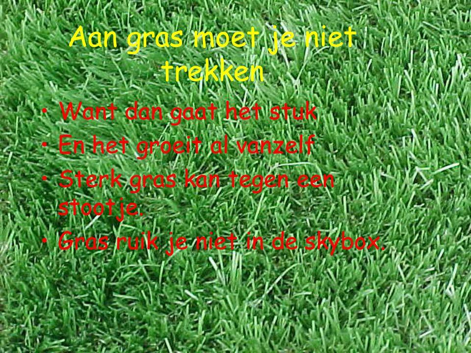 Aan gras moet je niet trekken Want dan gaat het stuk En het groeit al vanzelf Sterk gras kan tegen een stootje. Gras ruik je niet in de skybox.