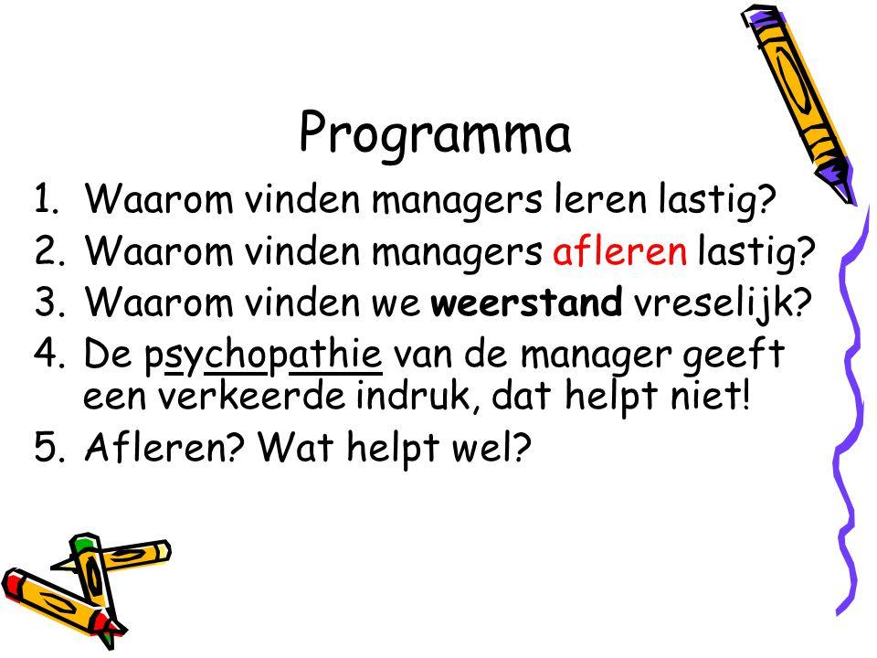 Programma 1.Waarom vinden managers leren lastig? 2.Waarom vinden managers afleren lastig? 3.Waarom vinden we weerstand vreselijk? 4.De psychopathie va