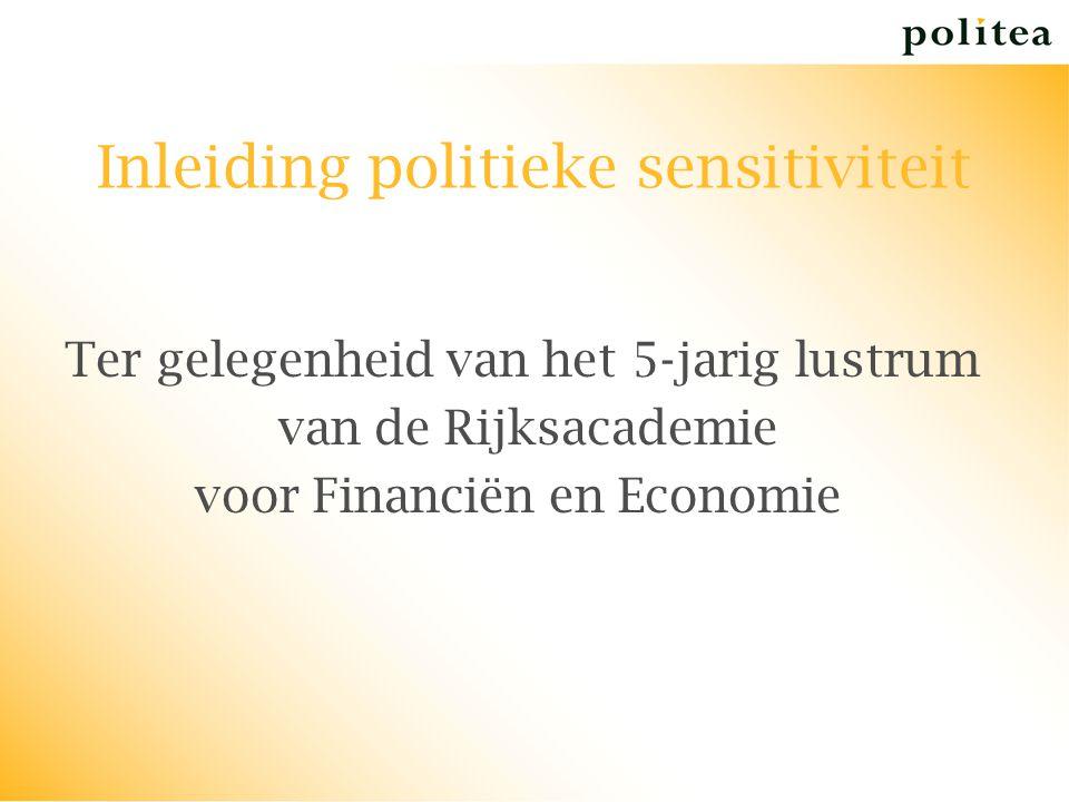 Inleiding politieke sensitiviteit Ter gelegenheid van het 5-jarig lustrum van de Rijksacademie voor Financiën en Economie