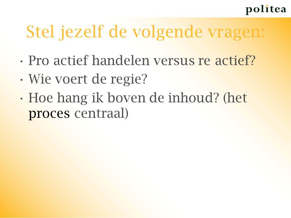 Stel jezelf de volgende vragen: Pro actief handelen versus re actief? Wie voert de regie? Hoe hang ik boven de inhoud? (het proces centraal)