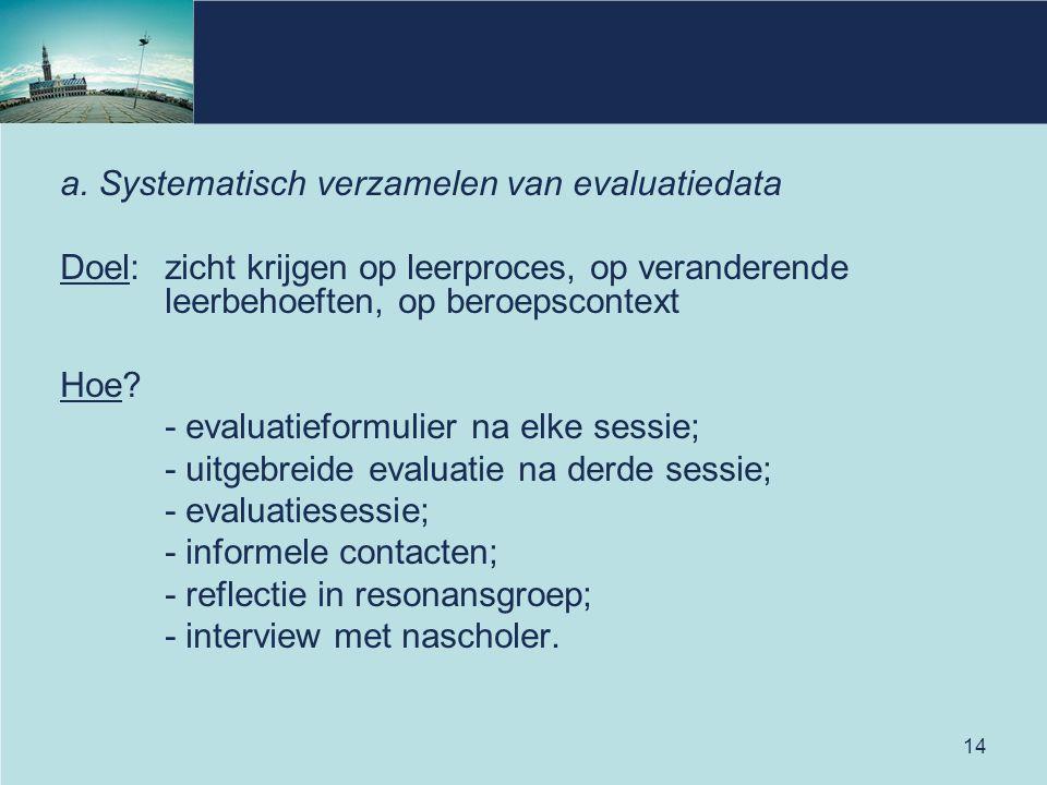 14 a. Systematisch verzamelen van evaluatiedata Doel: zicht krijgen op leerproces, op veranderende leerbehoeften, op beroepscontext Hoe? - evaluatiefo
