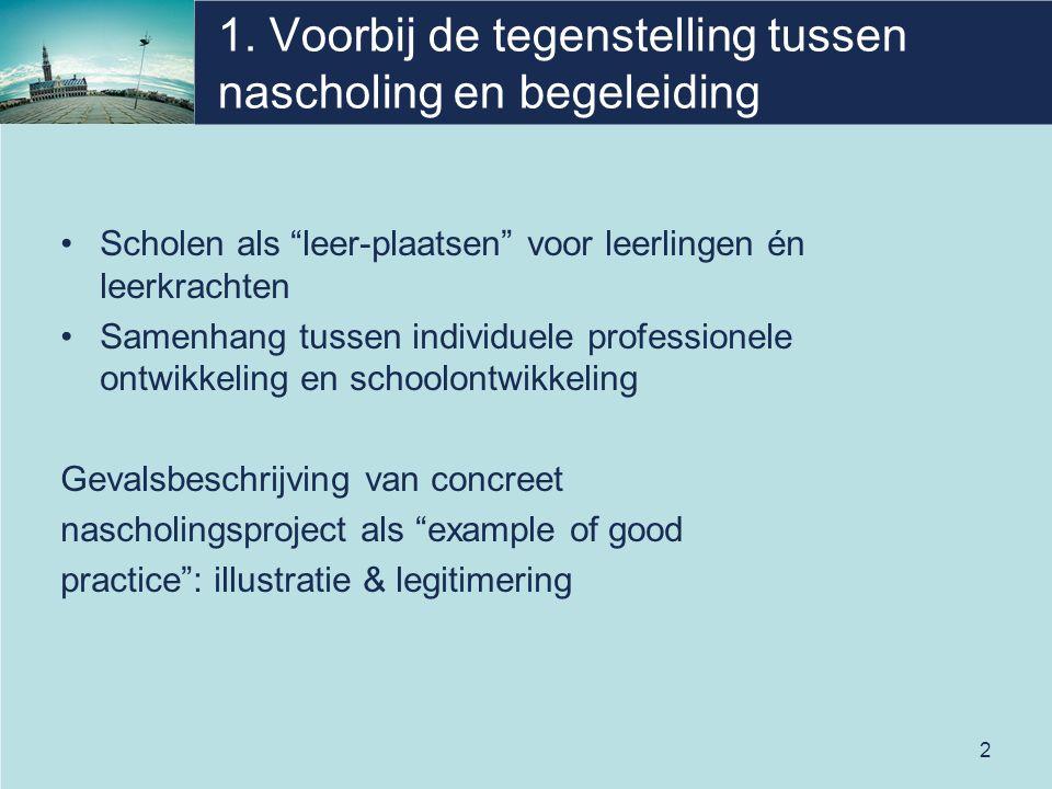 """2 1. Voorbij de tegenstelling tussen nascholing en begeleiding Scholen als """"leer-plaatsen"""" voor leerlingen én leerkrachten Samenhang tussen individuel"""