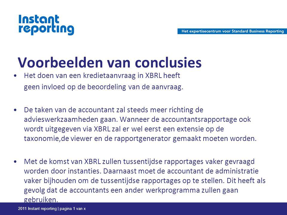 Voorbeelden van conclusies Het doen van een kredietaanvraag in XBRL heeft geen invloed op de beoordeling van de aanvraag.