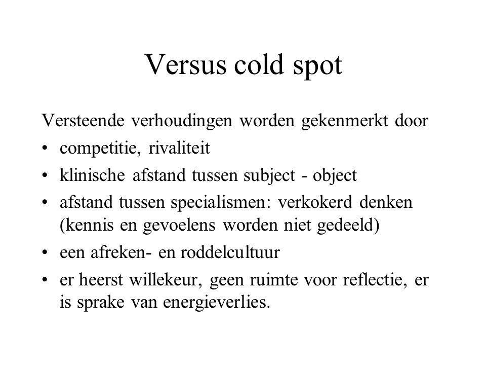 Versus cold spot Versteende verhoudingen worden gekenmerkt door competitie, rivaliteit klinische afstand tussen subject - object afstand tussen specia