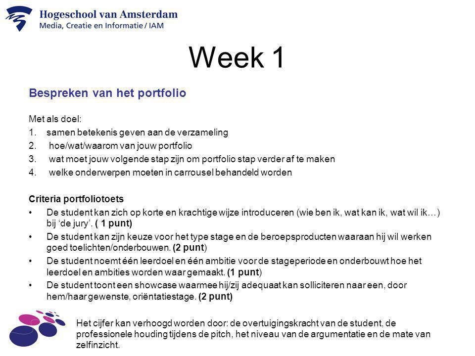 Week 1 Bespreken van het portfolio Met als doel: 1.samen betekenis geven aan de verzameling 2. hoe/wat/waarom van jouw portfolio 3. wat moet jouw volg