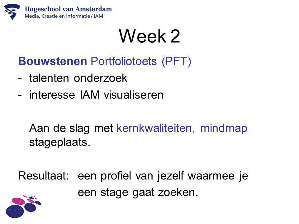 Week 2 Bouwstenen Portfoliotoets (PFT) -talenten onderzoek -interesse IAM visualiseren Aan de slag met kernkwaliteiten, mindmap stageplaats. Resultaat