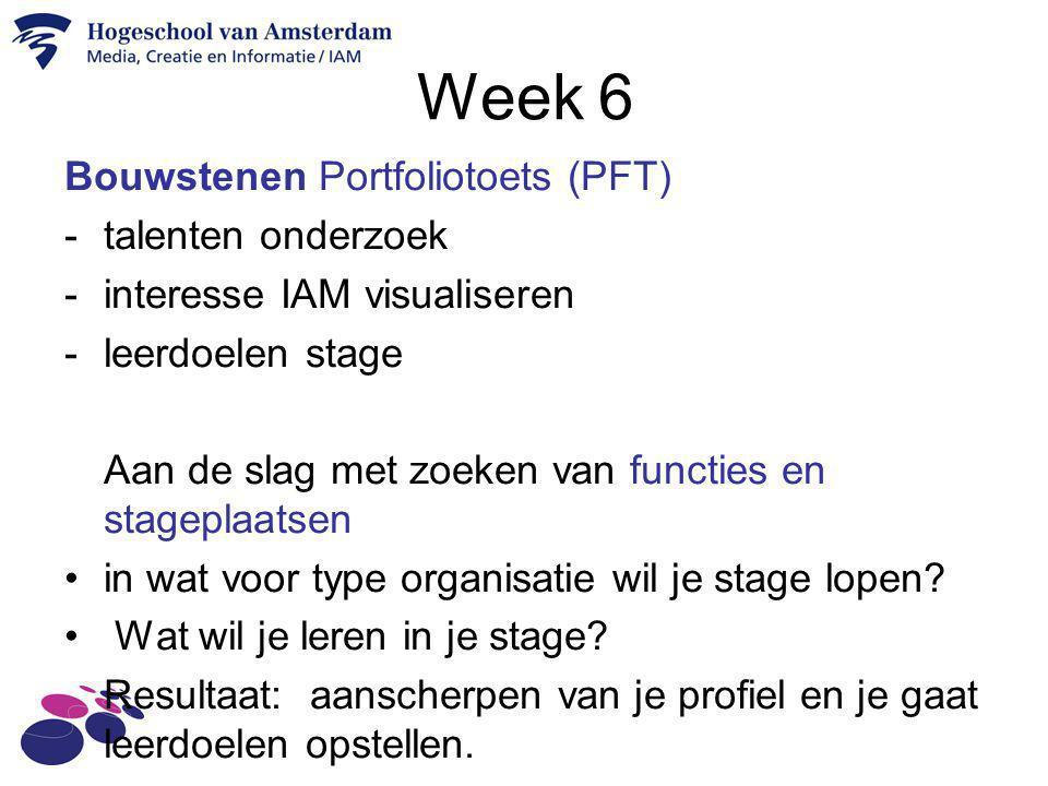 Week 6 Bouwstenen Portfoliotoets (PFT) -talenten onderzoek -interesse IAM visualiseren -leerdoelen stage Aan de slag met zoeken van functies en stagep