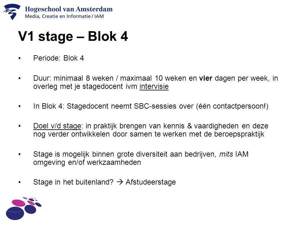 V1 stage – Blok 4 Periode: Blok 4 Duur: minimaal 8 weken / maximaal 10 weken en vier dagen per week, in overleg met je stagedocent ivm intervisie In B