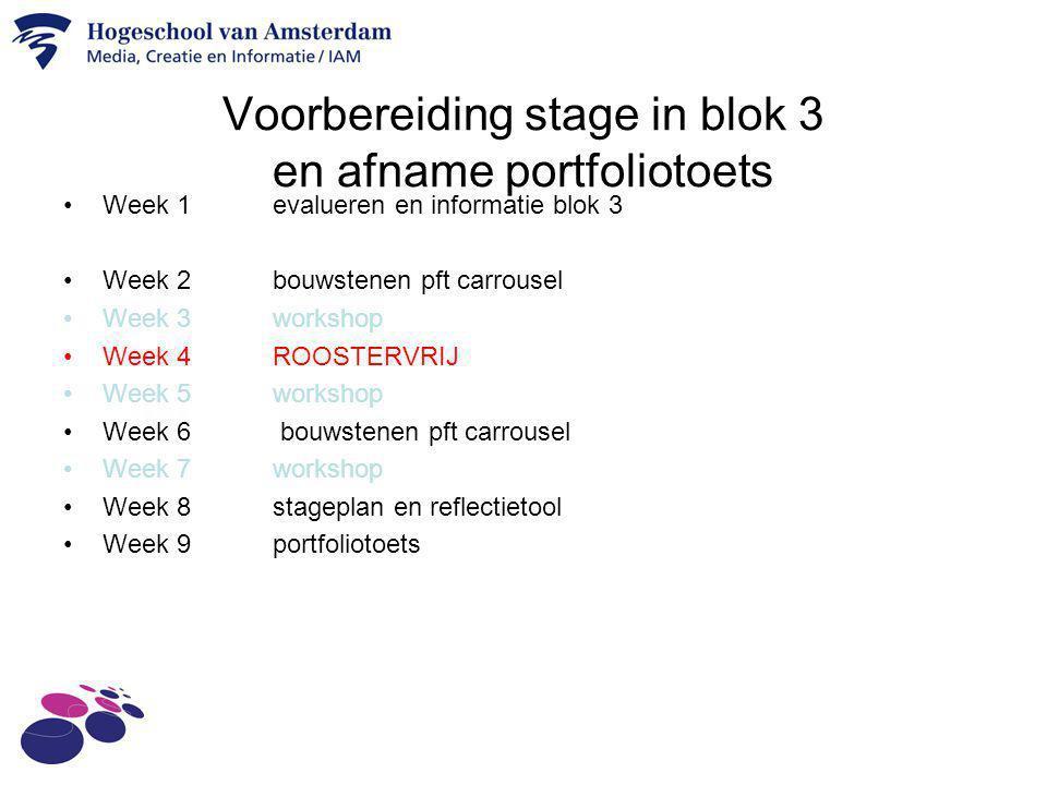 Voorbereiding stage in blok 3 en afname portfoliotoets Week 1evalueren en informatie blok 3 Week 2 bouwstenen pft carrousel Week 3workshop Week 4ROOST