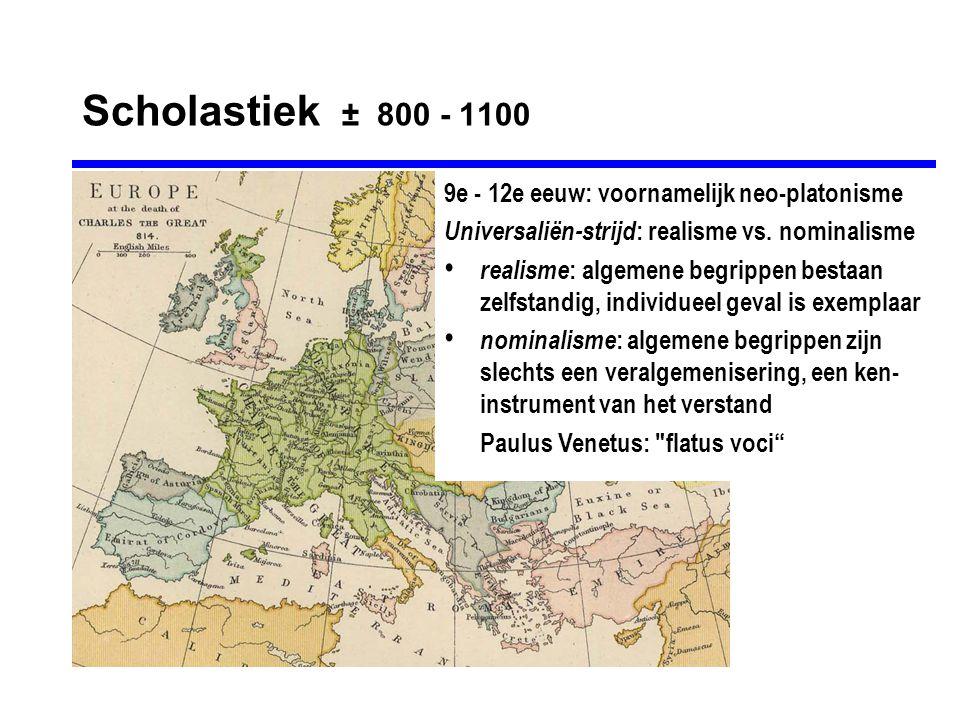 Scholastiek ± 800 - 1100 9e - 12e eeuw: voornamelijk neo-platonisme Universaliën-strijd : realisme vs.