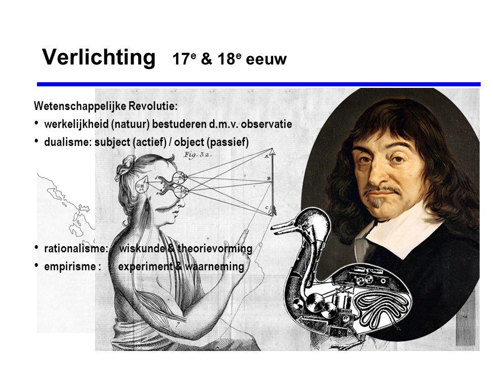 Verlichting 17 e & 18 e eeuw Wetenschappelijke Revolutie: werkelijkheid (natuur) bestuderen d.m.v.