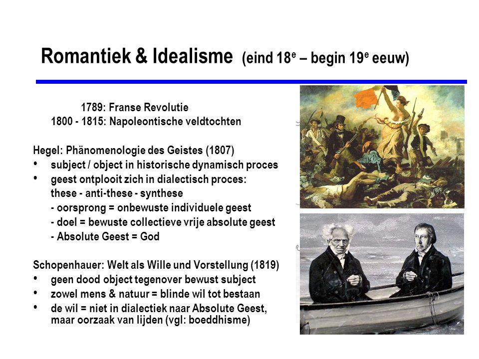 Romantiek & Idealisme (eind 18 e – begin 19 e eeuw) 1789: Franse Revolutie 1800 - 1815: Napoleontische veldtochten Hegel: Phänomenologie des Geistes (1807) subject / object in historische dynamisch proces geest ontplooit zich in dialectisch proces: these - anti-these - synthese - oorsprong = onbewuste individuele geest - doel = bewuste collectieve vrije absolute geest - Absolute Geest = God Schopenhauer: Welt als Wille und Vorstellung (1819) geen dood object tegenover bewust subject zowel mens & natuur = blinde wil tot bestaan de wil = niet in dialectiek naar Absolute Geest, maar oorzaak van lijden (vgl: boeddhisme)