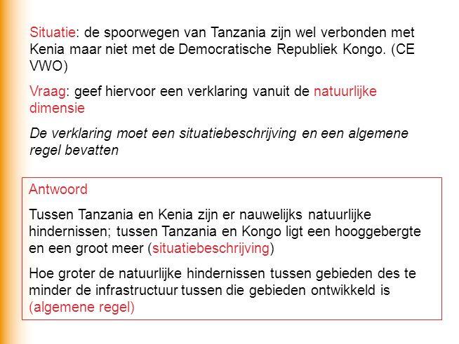 Situatie: de spoorwegen van Tanzania zijn wel verbonden met Kenia maar niet met de Democratische Republiek Kongo.
