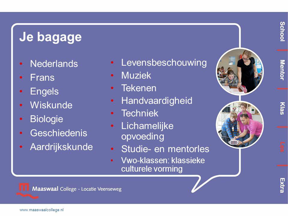 Je bagage Nederlands Frans Engels Wiskunde Biologie Geschiedenis Aardrijkskunde Levensbeschouwing Muziek Tekenen Handvaardigheid Techniek Lichamelijke