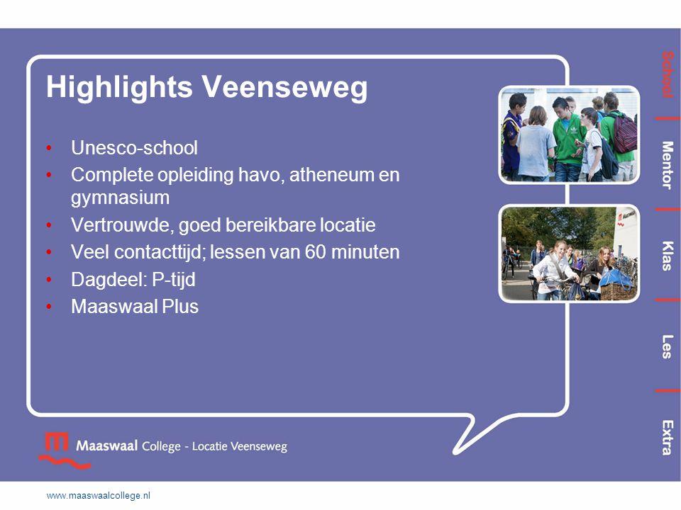 Highlights Veenseweg Unesco-school Complete opleiding havo, atheneum en gymnasium Vertrouwde, goed bereikbare locatie Veel contacttijd; lessen van 60