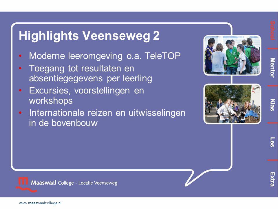 www.maaswaalcollege.nl Highlights Veenseweg 2 Moderne leeromgeving o.a. TeleTOP Toegang tot resultaten en absentiegegevens per leerling Excursies, voo