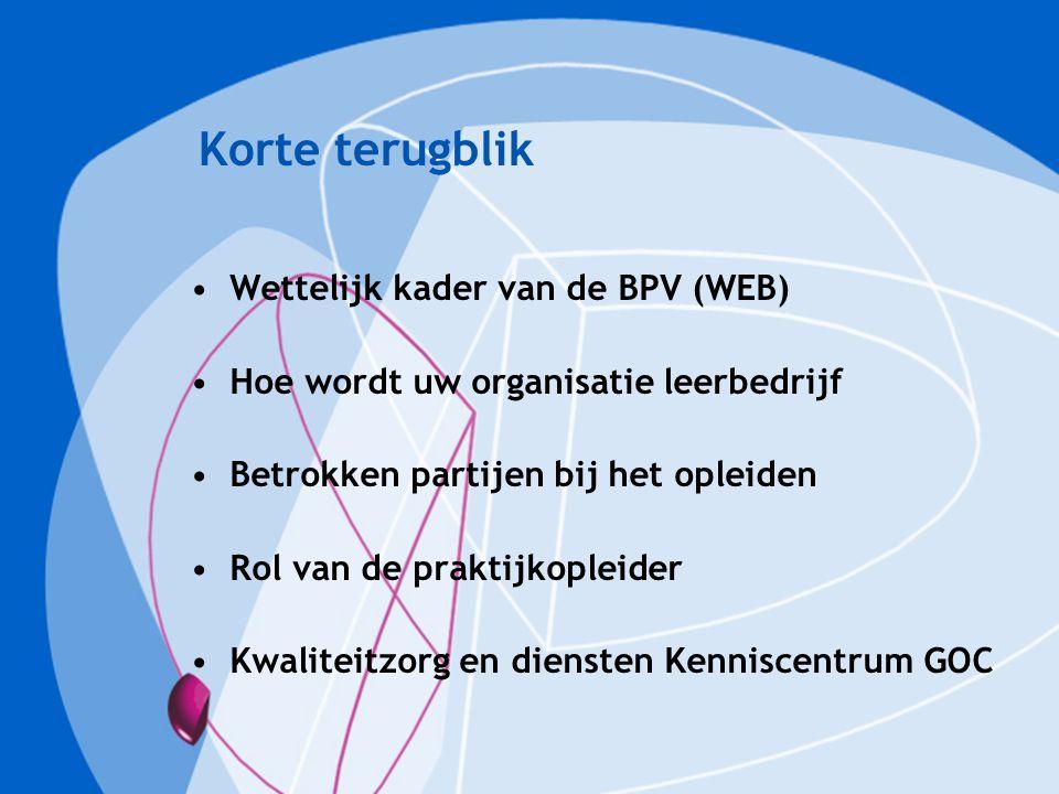 Korte terugblik Wettelijk kader van de BPV (WEB) Hoe wordt uw organisatie leerbedrijf Betrokken partijen bij het opleiden Rol van de praktijkopleider Kwaliteitzorg en diensten Kenniscentrum GOC