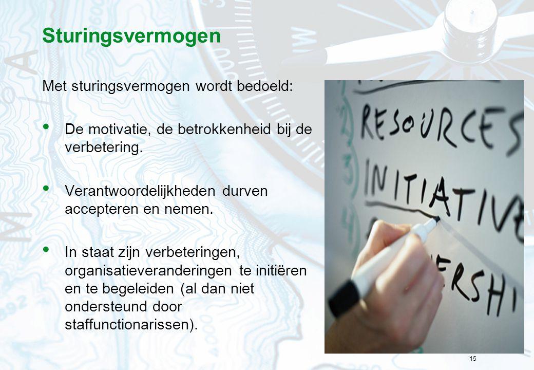 15 Sturingsvermogen Met sturingsvermogen wordt bedoeld: De motivatie, de betrokkenheid bij de verbetering. Verantwoordelijkheden durven accepteren en