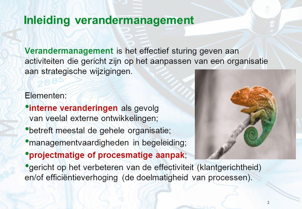 2 Inleiding verandermanagement Verandermanagement is het effectief sturing geven aan activiteiten die gericht zijn op het aanpassen van een organisati