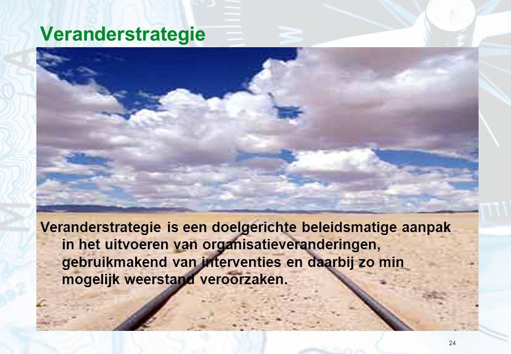 24 Veranderstrategie Veranderstrategie is een doelgerichte beleidsmatige aanpak in het uitvoeren van organisatieveranderingen, gebruikmakend van inter