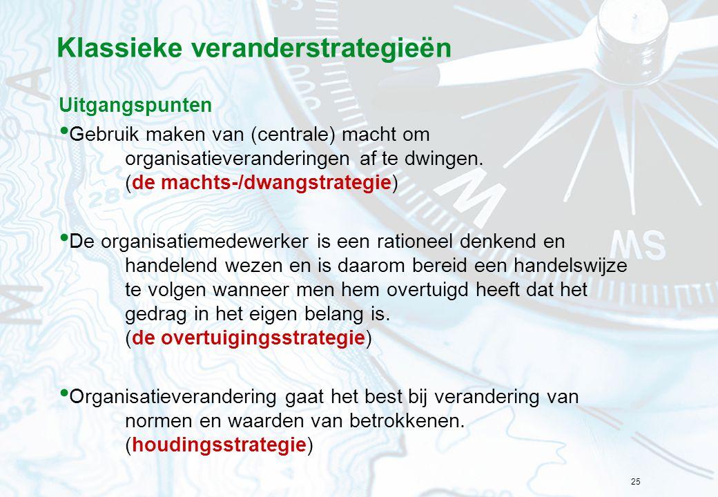 25 Klassieke veranderstrategieën Uitgangspunten Gebruik maken van (centrale) macht om organisatieveranderingen af te dwingen. (de machts-/dwangstrateg