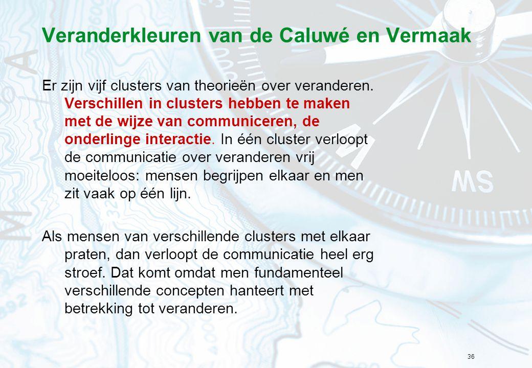36 Veranderkleuren van de Caluwé en Vermaak Er zijn vijf clusters van theorieën over veranderen. Verschillen in clusters hebben te maken met de wijze