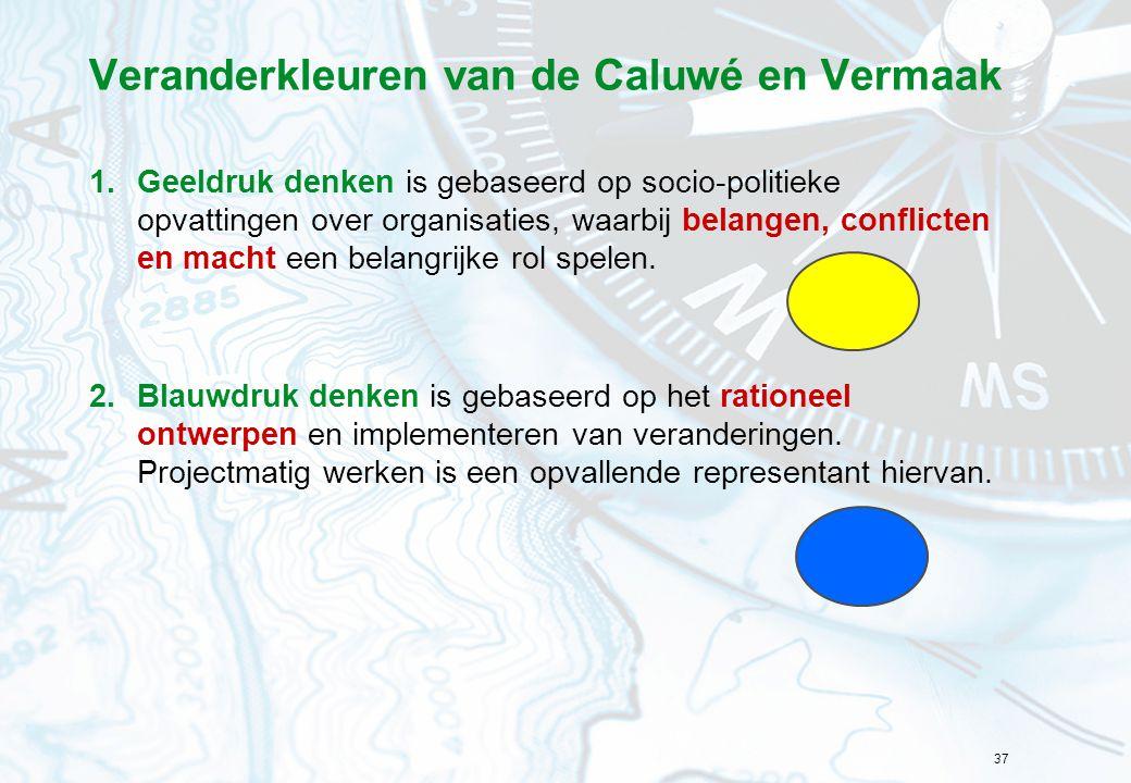 37 Veranderkleuren van de Caluwé en Vermaak 1.Geeldruk denken is gebaseerd op socio-politieke opvattingen over organisaties, waarbij belangen, conflic
