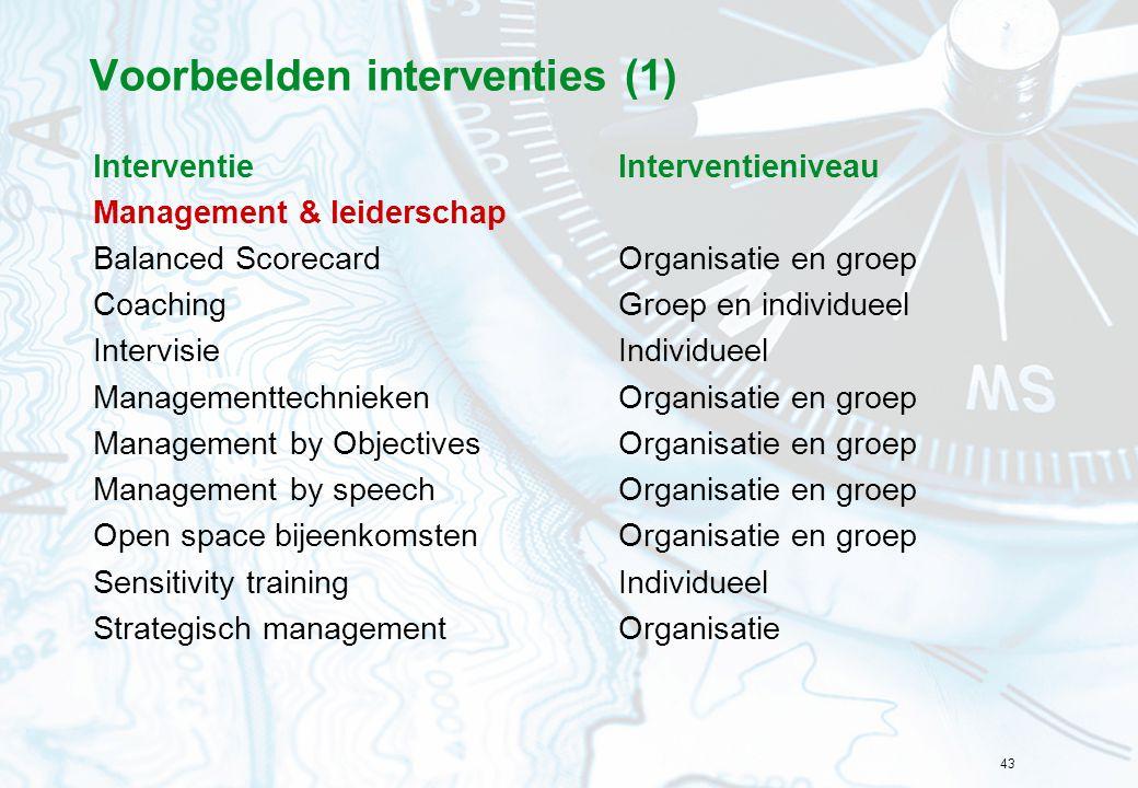 43 Voorbeelden interventies (1) InterventieInterventieniveau Management & leiderschap Balanced ScorecardOrganisatie en groep CoachingGroep en individu