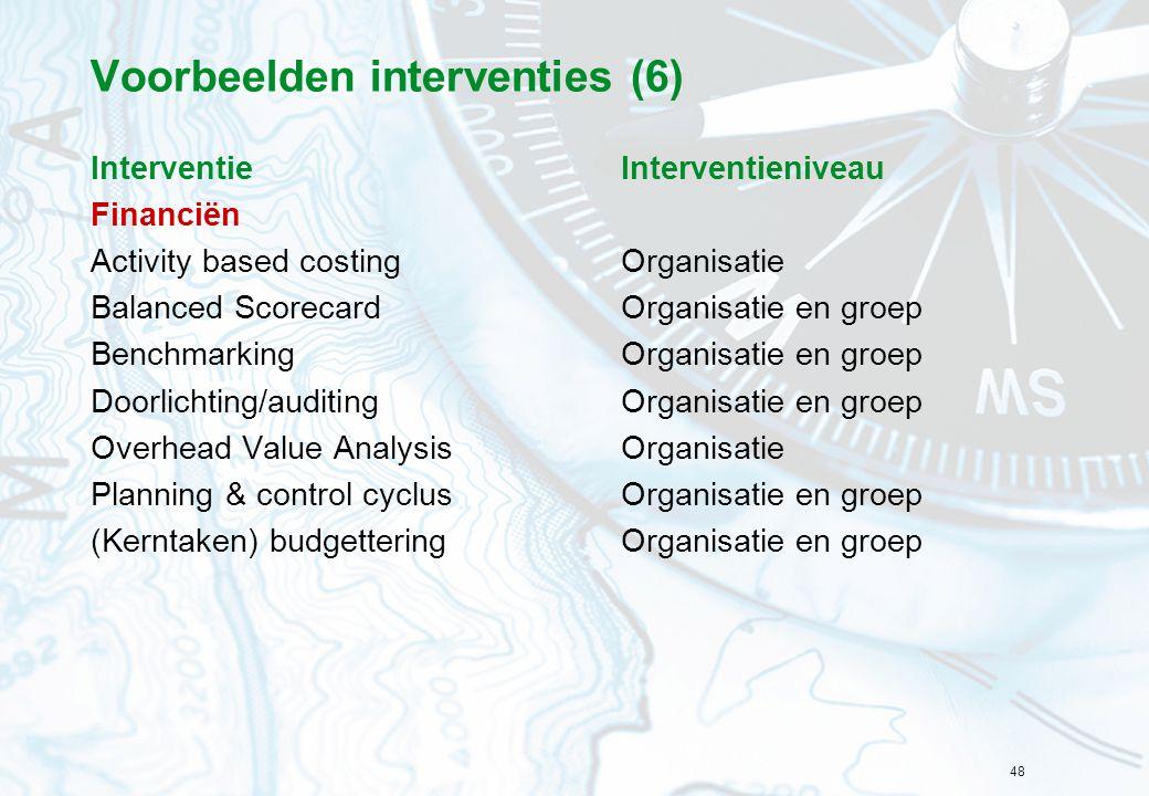 48 Voorbeelden interventies (6) InterventieInterventieniveau Financiën Activity based costingOrganisatie Balanced ScorecardOrganisatie en groep Benchm