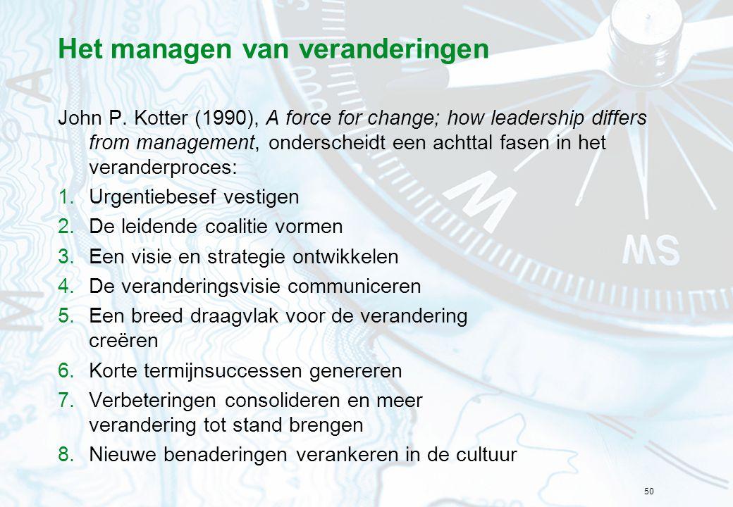 50 Het managen van veranderingen John P. Kotter (1990), A force for change; how leadership differs from management, onderscheidt een achttal fasen in