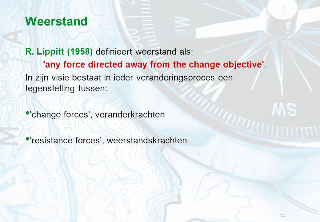 53 Weerstand R. Lippitt (1958) definieert weerstand als: 'any force directed away from the change objective'. In zijn visie bestaat in ieder veranderi