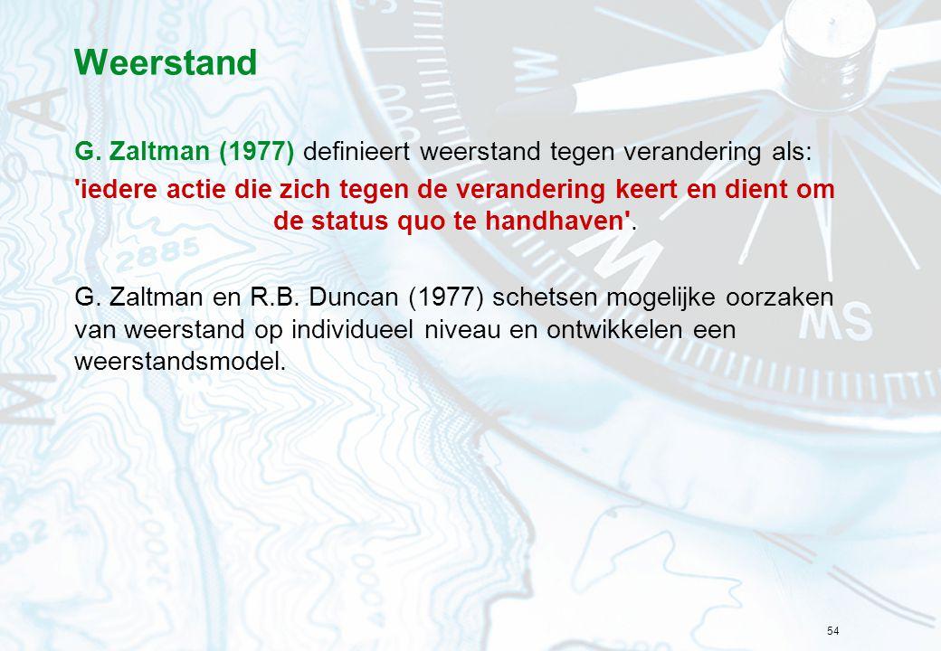 54 Weerstand G. Zaltman (1977) definieert weerstand tegen verandering als: 'iedere actie die zich tegen de verandering keert en dient om de status quo